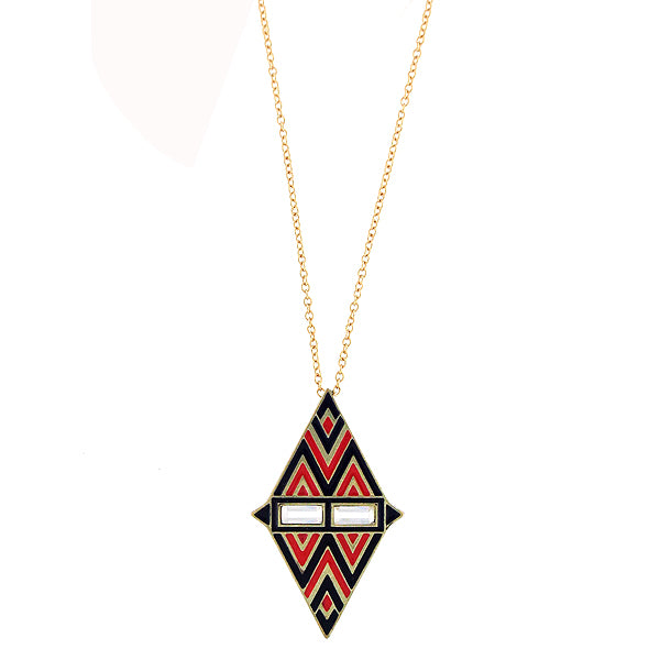 Online shopping for handmade South Western pattern pendant necklace with colorful enamel and sparkly crystal accents. A great gift for you or your girlfriend, wife, co-worker, friend & family. These are exclusive for LAVISHY Boutique only.