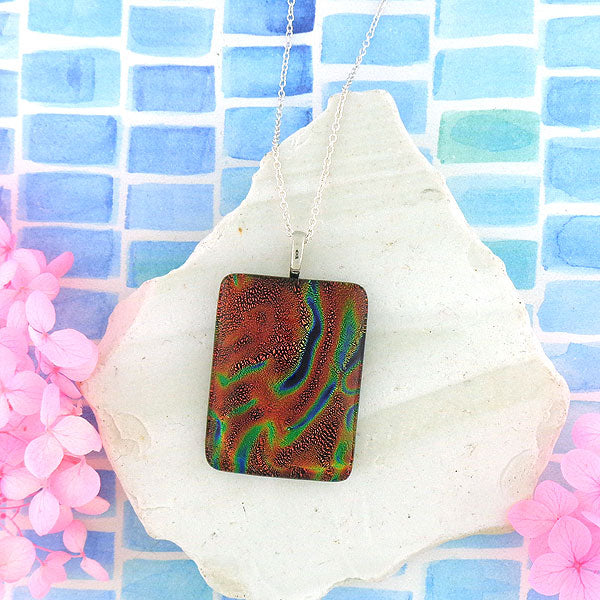 Online shopping for handmade rectangular glass pendant necklace designed and handmade by LAVISHY in Toronto Canada. It will add lovely colors to your outfit.