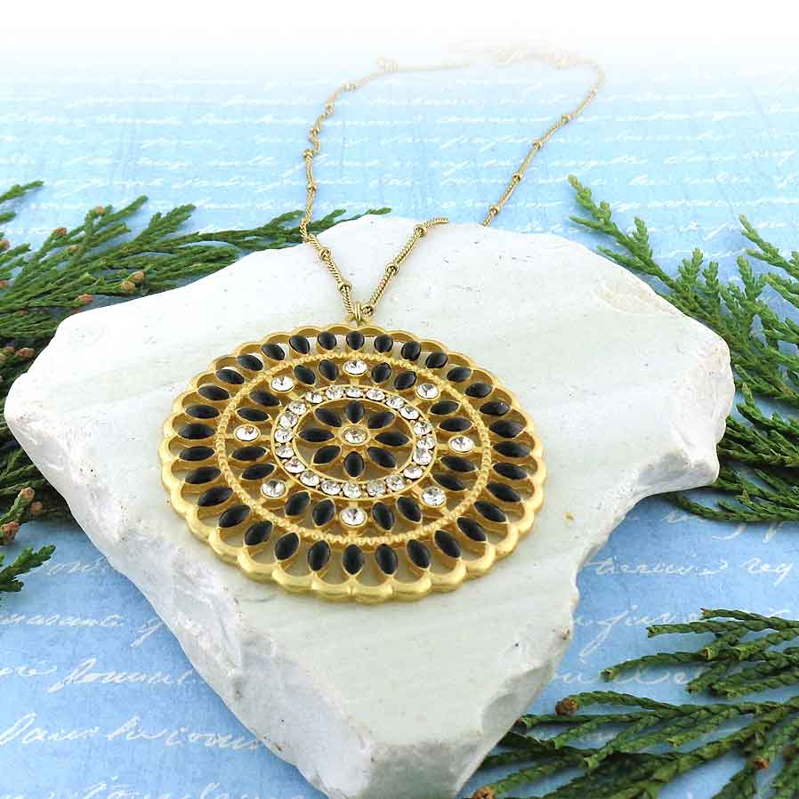 NM2004-003: Bohemian style disc pendant necklace with enamel & rhinestone accents