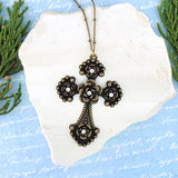 NM2004-004: Rose cross pendant long necklace with rhinestone accents