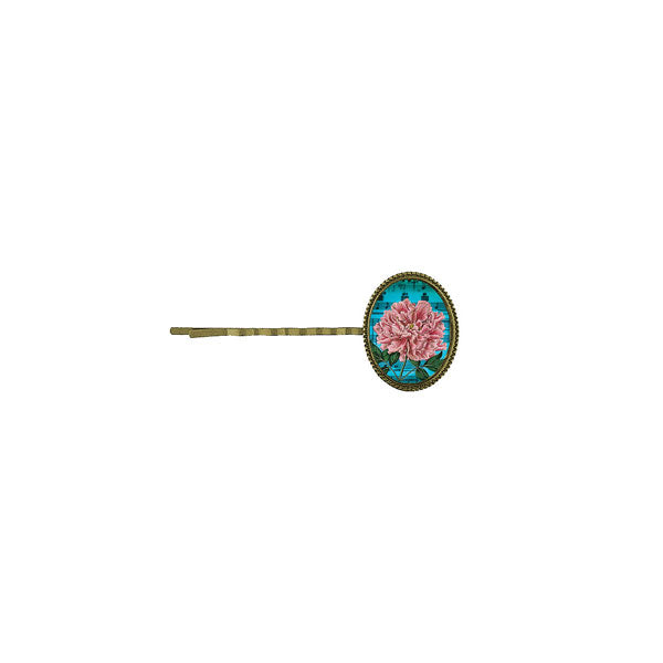 Shop LAVISHY's unique, beautiful & affordable vintage style handmade hair bobby pin with pink peony flower print. A great gift for you or your girlfriend, wife, co-worker, friend & family. Wholesale available at www.lavishy.com with many unique & fun fashion accessories.