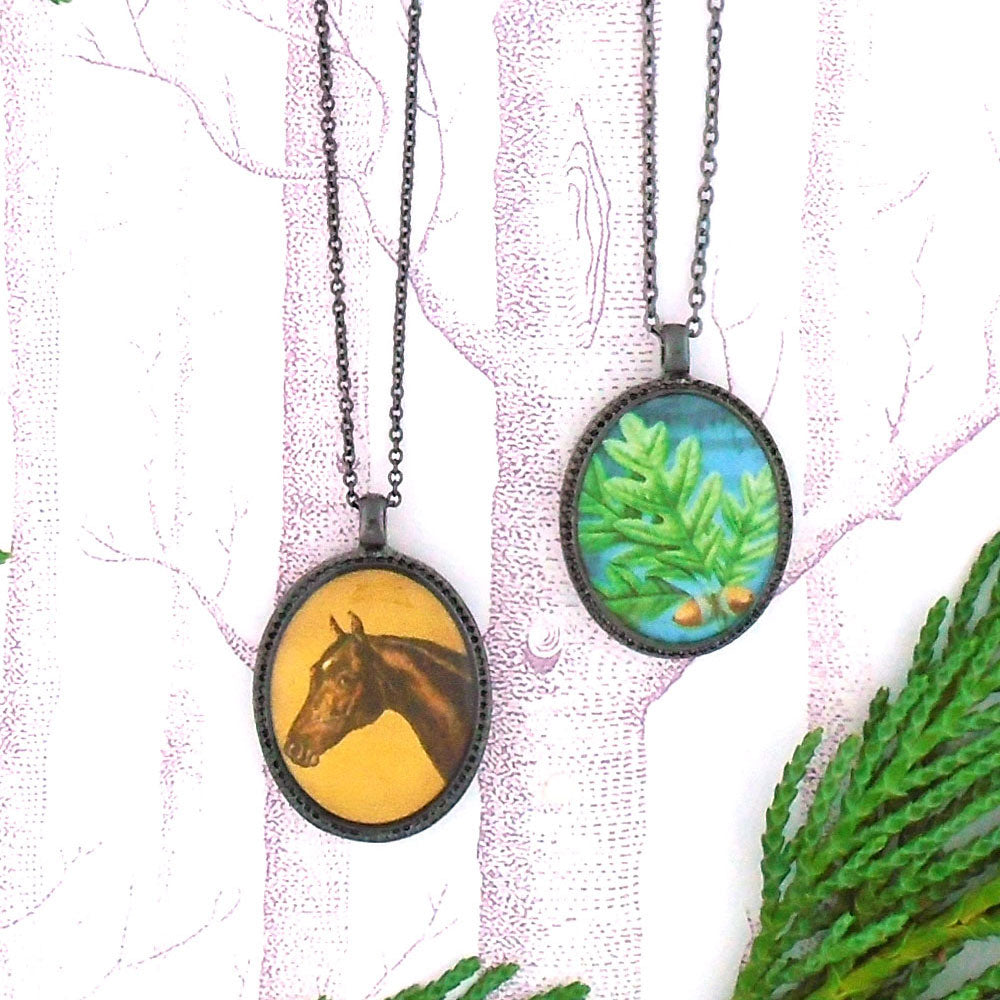 Shop LAVISHY's unique, beautiful & affordable vintage style reversible pendant necklace with horse & oak leaf print. A great gift for you or your girlfriend, wife, co-worker, friend & family. Wholesale available at www.lavishy.com with many unique & fun fashion accessories.
