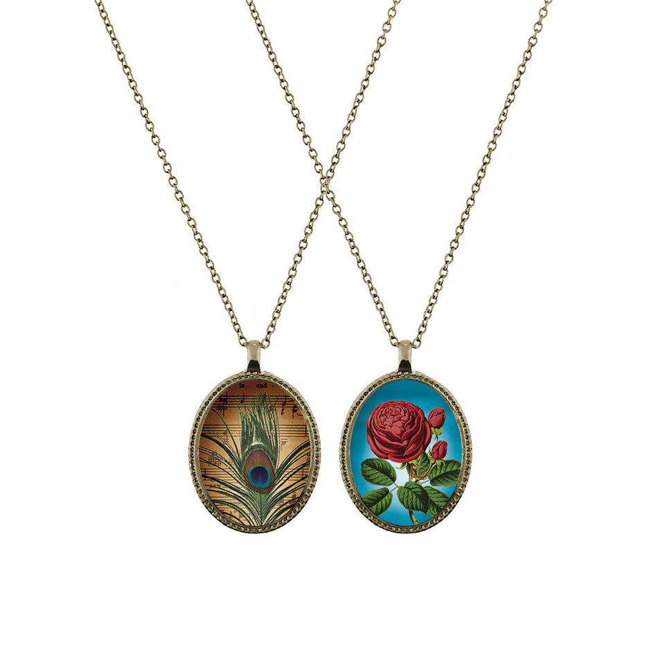 Shop LAVISHY's unique, beautiful & affordable vintage style reversible pendant necklace with peacock feather & rose flower print. A great gift for you or your girlfriend, wife, co-worker, friend & family. Wholesale available at www.lavishy.com with many unique & fun fashion accessories.