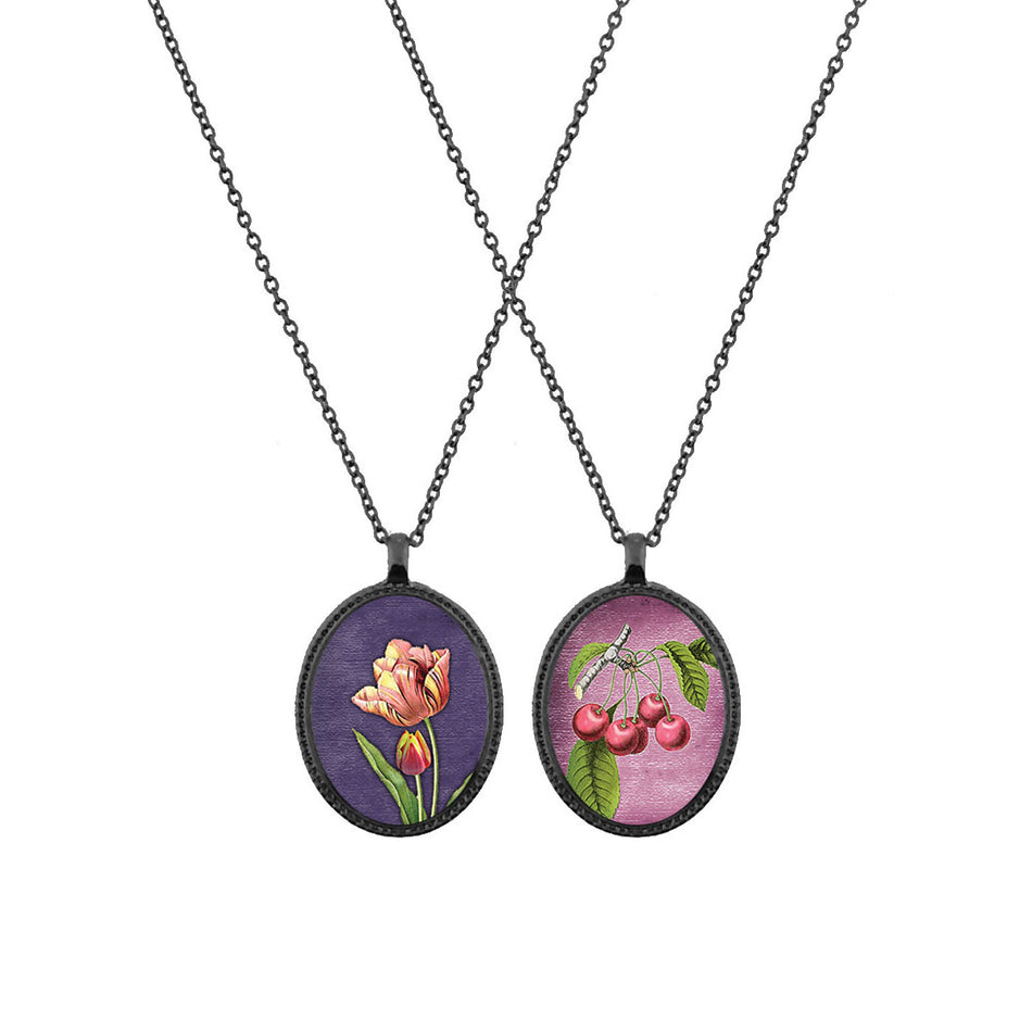 Shop LAVISHY's unique, beautiful & affordable vintage style reversible pendant necklace with tulip flower & cherry print. A great gift for you or your girlfriend, wife, co-worker, friend & family. Wholesale available at www.lavishy.com with many unique & fun fashion accessories.
