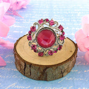 CO-R008: Adjustable ring with Austrian crystal accent