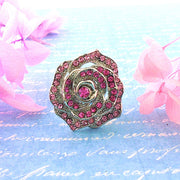 CO-R009: Adjustable rose ring with Austrian crystal accent