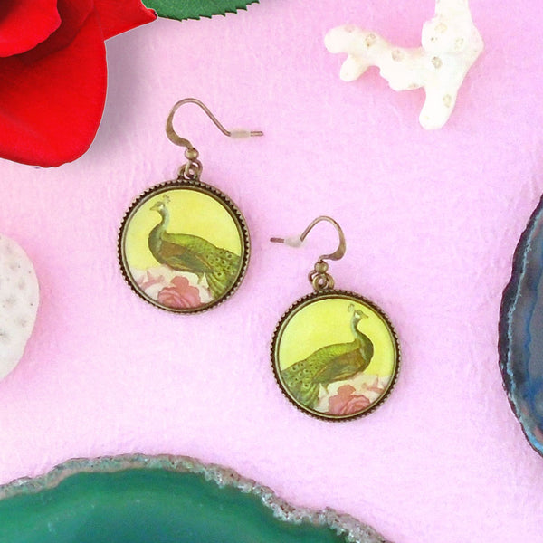 E006: Peacock & peony earrings