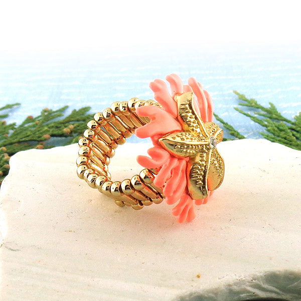 RM001: Handmade adjustable starfish ring