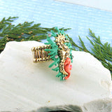 RM002: Handmade adjustable seahorse ring