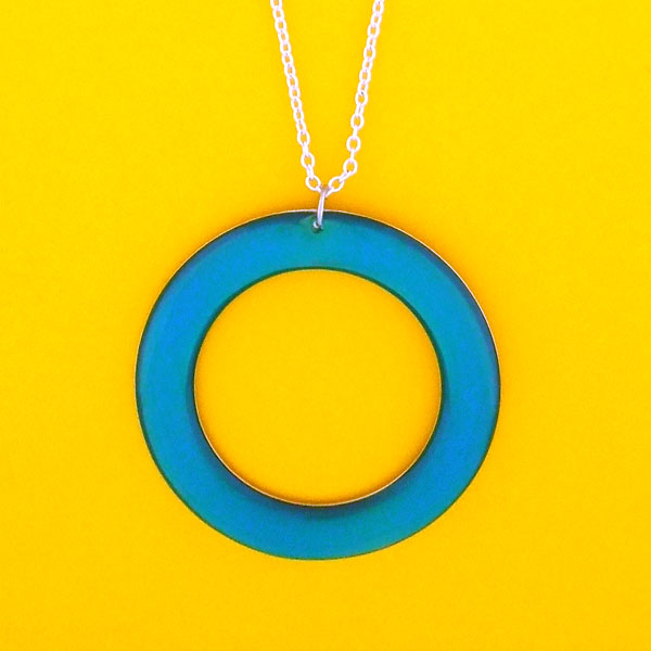 RN005: Handmade resin circle pendant necklace
