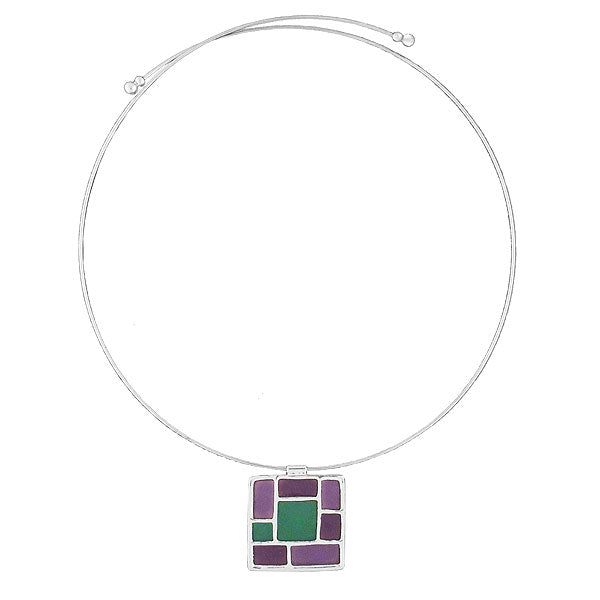 RN011: Resin mosaic pendant stretchable choker