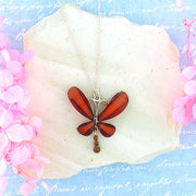 RN031: Resin butterfly with rhinestone accent pendant necklace