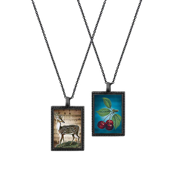 Shop LAVISHY's unique, beautiful & affordable vintage style reversible pendant necklace with cherry & deer print. A great gift for you or your girlfriend, wife, co-worker, friend & family. Wholesale available at www.lavishy.com with many unique & fun fashion accessories.