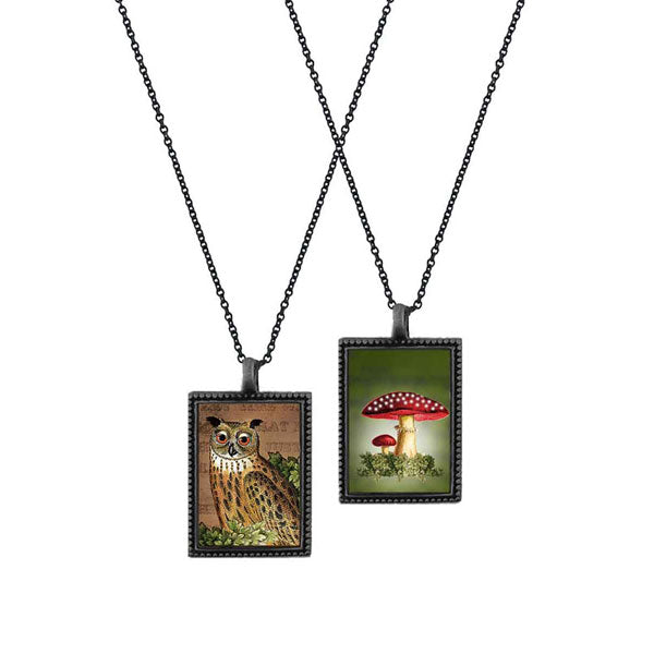 Shop LAVISHY's unique, beautiful & affordable vintage style reversible pendant necklace with owl & mushroom print. A great gift for you or your girlfriend, wife, co-worker, friend & family. Wholesale available at www.lavishy.com with many unique & fun fashion accessories.
