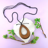 SNW001: Handmade large tear drop wood pendant necklace