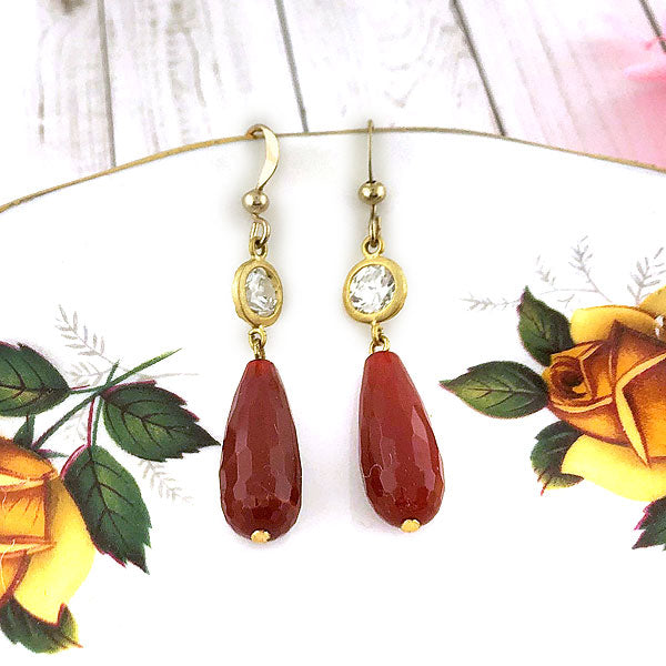 Online shopping for LAVISHY handmade tear drop nature stone earrings with glass bead accent. A thoughtful gift for you or your friends and family. They come with FREE LAVISHY gift box to make gift giving easy and fun!