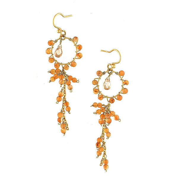 Online shopping for LAVISHY handmade carnelian beads gold filled earrings. A thoughtful gift for you or your friends and family. They come with FREE LAVISHY gift box to make gift giving easy and fun!