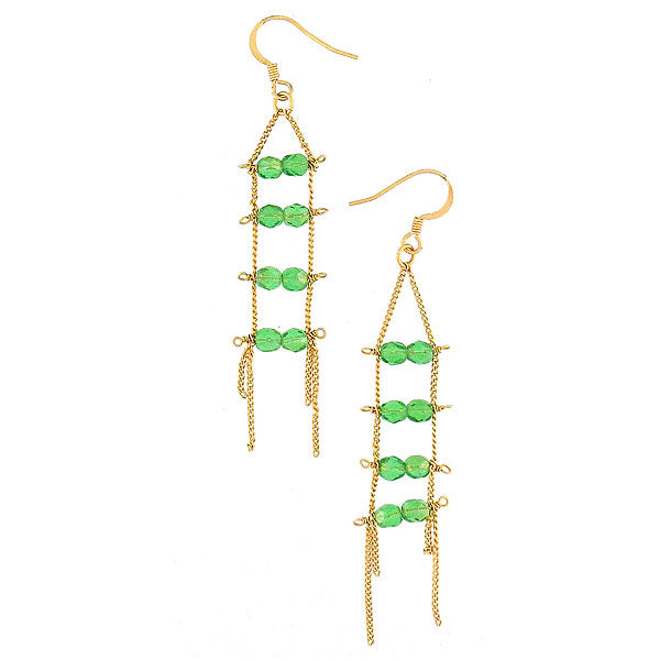 STE004: Handmade demantoid garnet beads gold filled earrings