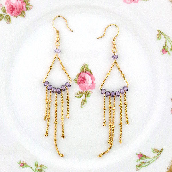 Online shopping for LAVISHY handmade amethyst beads gold filled chandelier earrings. A thoughtful gift for you or your friends and family. They come with FREE LAVISHY gift box to make gift giving easy and fun!