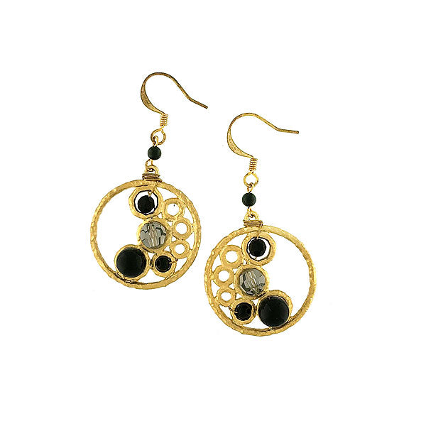 STE009: Handmade black onyx beads earrings with glass beads accent
