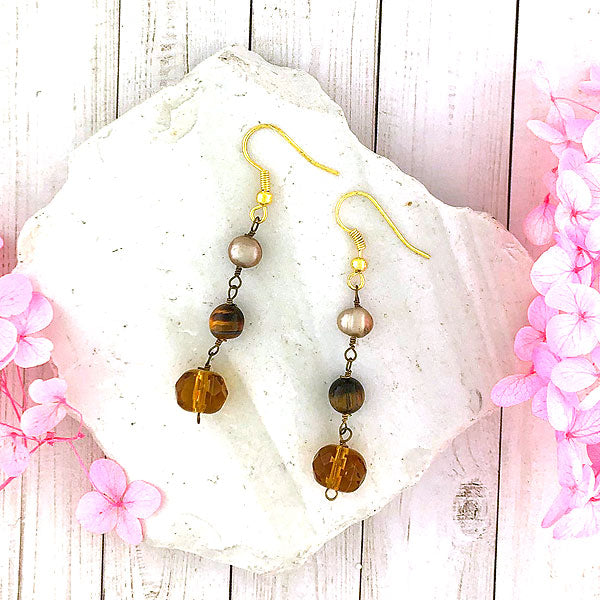 STE014: Handmade tiger eye stone and crystal beads earrings