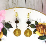 STE018: Handmade tiger eye stone & crystal drop earrings