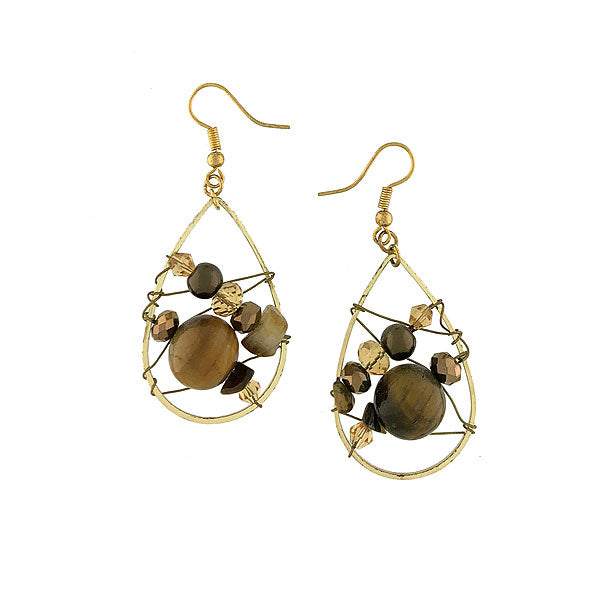 STE022: Handmade tiger eye and crystal beads drop earrings