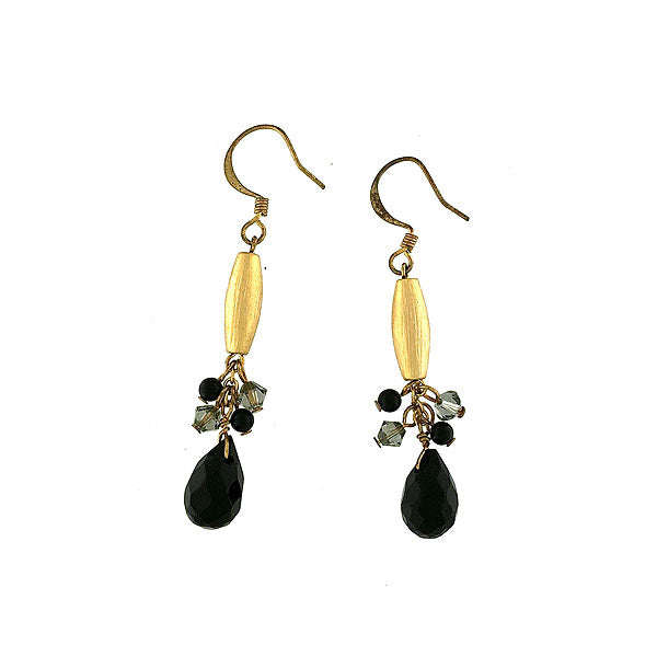 STE023: Handmade crystal beads drop earrings