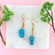 STE024: Handmade turquoise nugget & crystal beads earrings