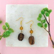 STE025: Handmade tiger eye stone & crystal earrings