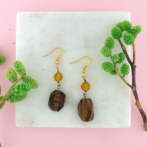 Online shopping for LAVISHY handmade tiger eye stone and crystal beads drop earrings. A thoughtful gift for you or your friends and family. They come with FREE LAVISHY gift box to make gift giving easy and fun!