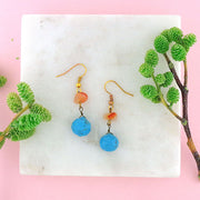 Online shopping for LAVISHY handmade turquoise and carnelian stone drop earrings. A thoughtful gift for you or your friends and family. They come with FREE LAVISHY gift box to make gift giving easy and fun!