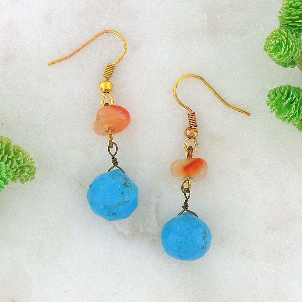 STE026: Handmade turquoise & carnelian stone earrings