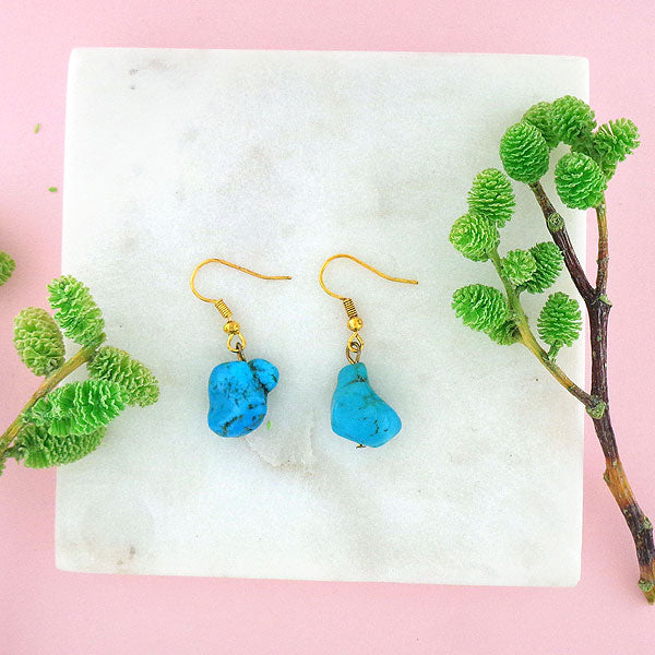 STE027: Handmade turquoise nugget drop earrings