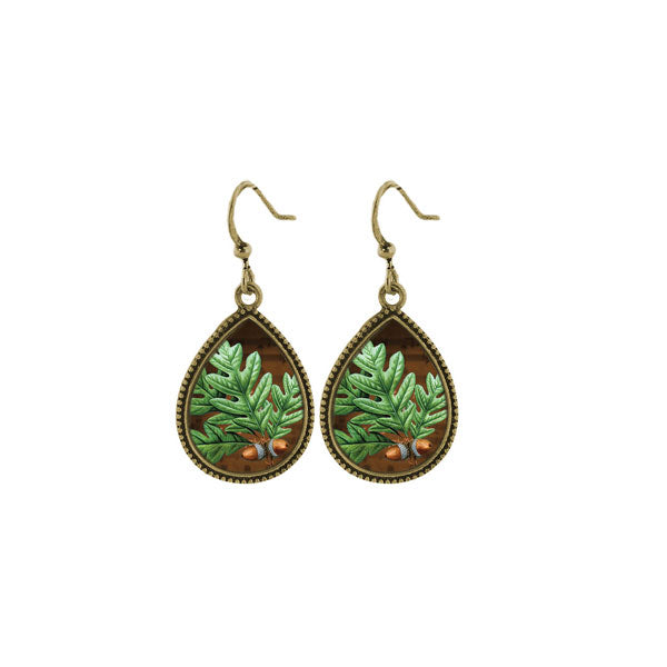 Shop LAVISHY's unique, beautiful & affordable vintage style handmade oak leaf earrings. A great gift for you or your girlfriend, wife, co-worker, friend & family. Wholesale available at www.lavishy.com with many unique & fun fashion accessories.