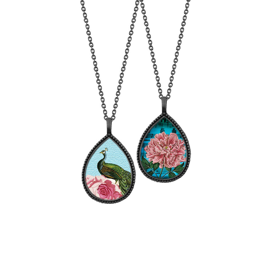 Shop LAVISHY's unique, beautiful & affordable vintage style reversible pendant necklace with peacock & pink peony flower print. A great gift for you or your girlfriend, wife, co-worker, friend & family. Wholesale available at www.lavishy.com with many unique & fun fashion accessories.