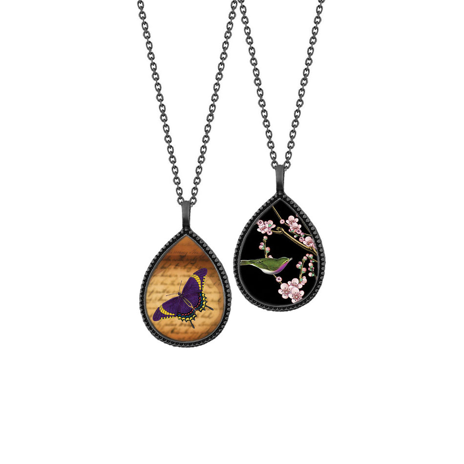 Shop LAVISHY's unique, beautiful & affordable vintage style reversible pendant necklace with love birds with plum flower tree  & butterfly print. A great gift for you or your girlfriend, wife, co-worker, friend & family. Wholesale available at www.lavishy.com with many unique & fun fashion accessories.