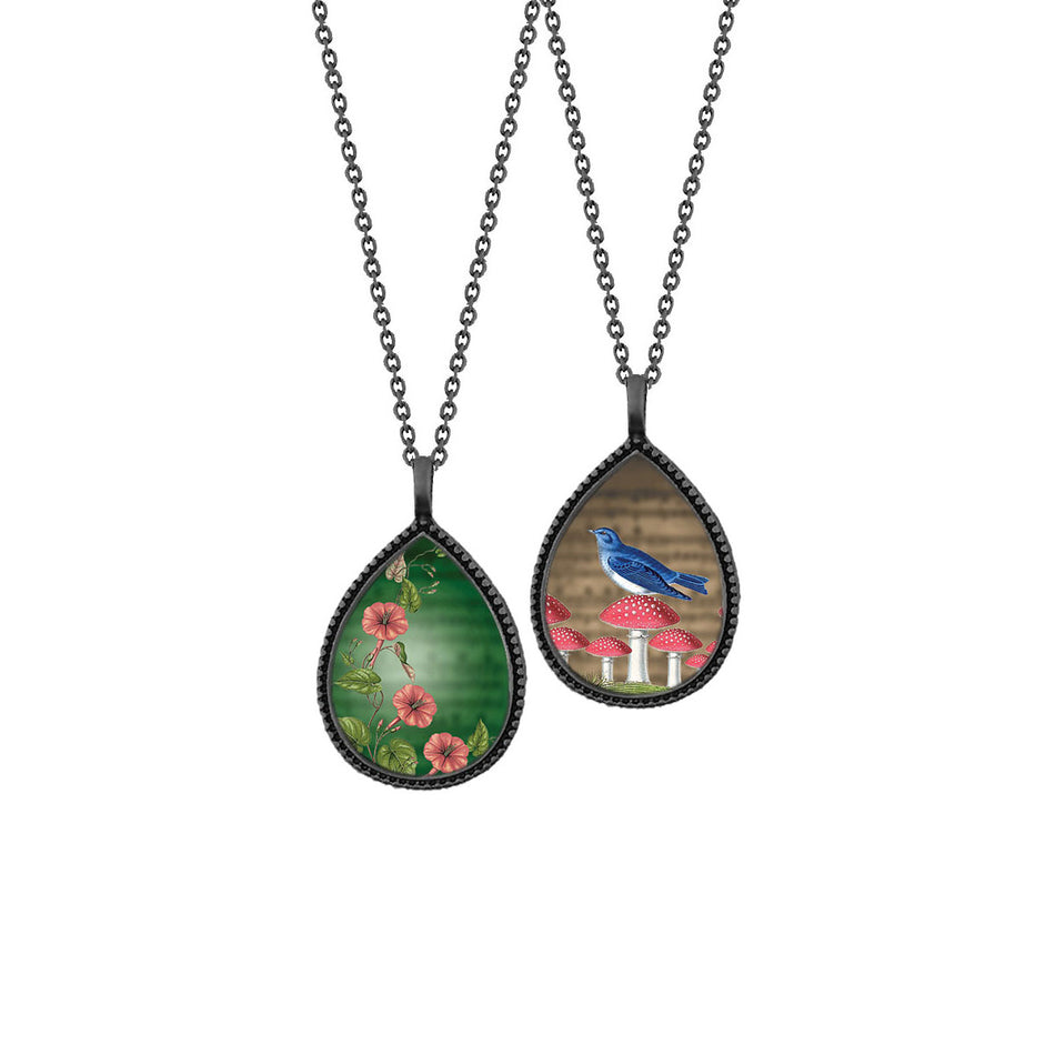 Shop LAVISHY's unique, beautiful & affordable vintage style reversible pendant necklace with bird on mushroom & morning of glory flower print. A great gift for you or your girlfriend, wife, co-worker, friend & family. Wholesale available at www.lavishy.com with many unique & fun fashion accessories.