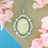 Online shopping for gold/rhodium plated cameo pendant necklace with crystal accent. A great gift for you or your girlfriend, wife, co-worker, friend & family. Wholesale available at www.lavishy.com with many unique & fun fashion accessories.