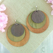 WDE003: Handmade 3 layered wood disc earrings
