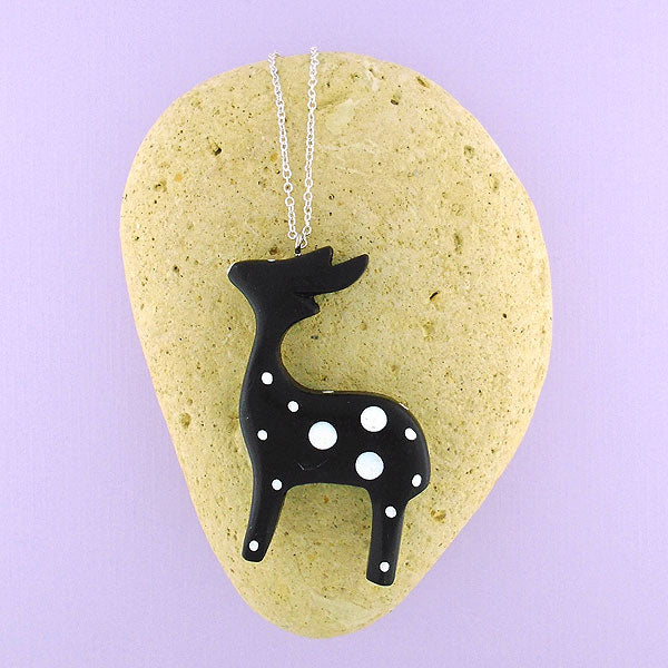 SNW009: Handmade deer wood pendant necklace