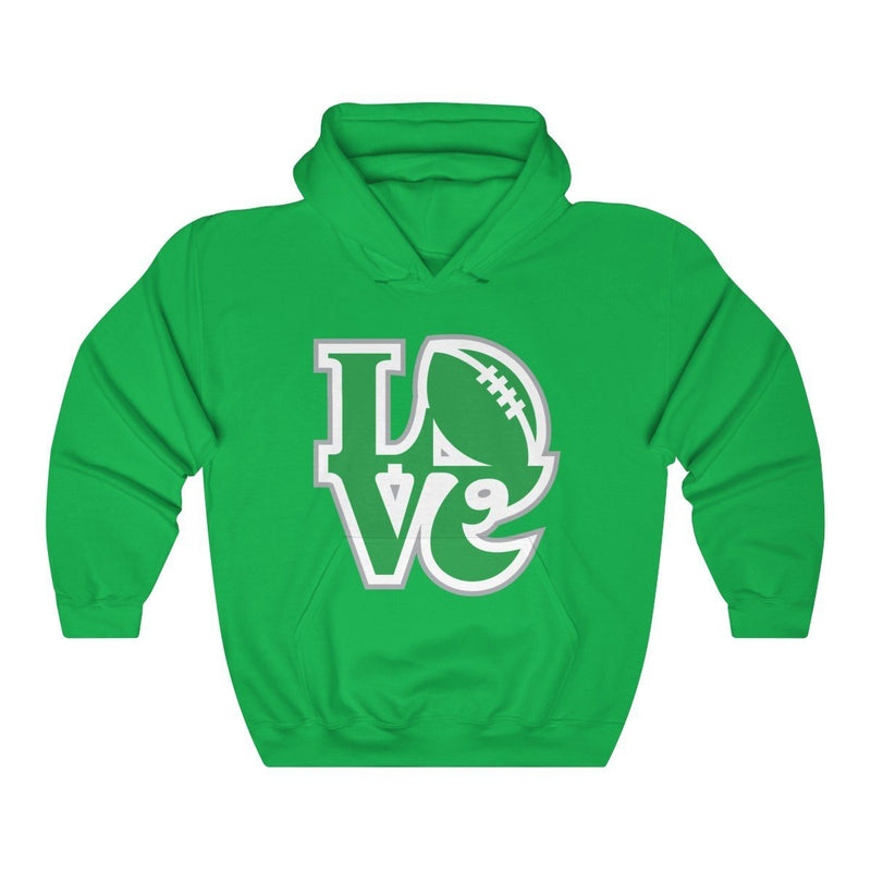 LOVE Football Hooded Sweatshirt Hoodie Printify Irish Green S