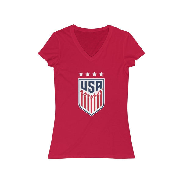 USA Women's Soccer V-Neck Tee V-neck Printify S Red