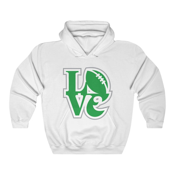 LOVE Football Hooded Sweatshirt Hoodie Printify White S