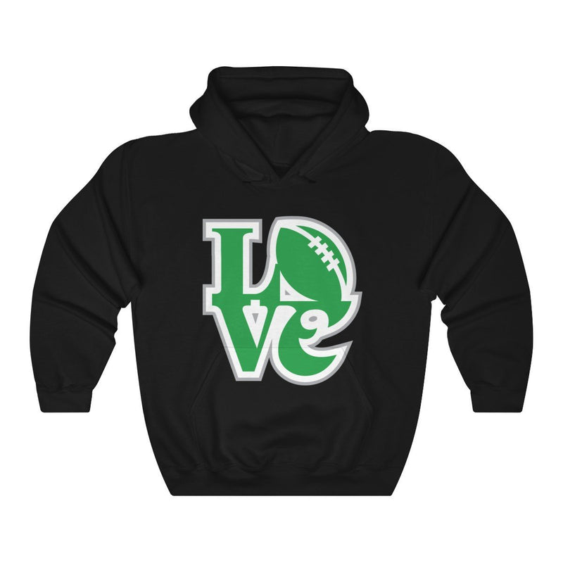 LOVE Football Hooded Sweatshirt Hoodie Printify Black S