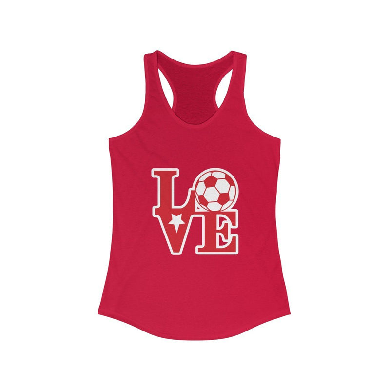 LOVE Soccer Racerback Tank Tank Top Printify Solid Red XS