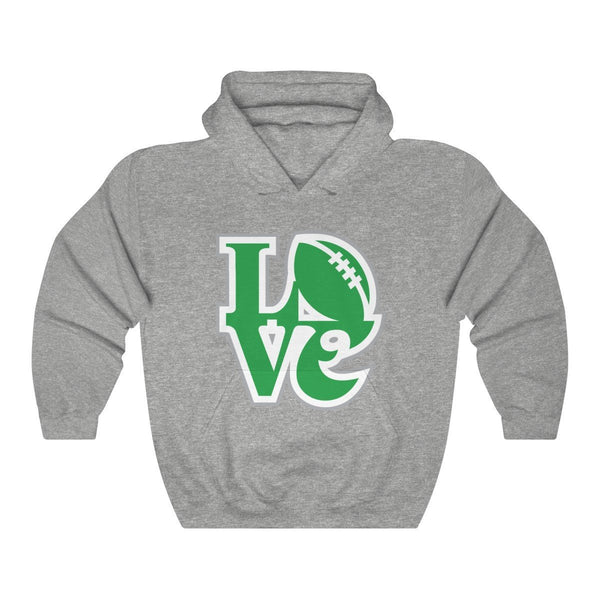 LOVE Football Hooded Sweatshirt Hoodie Printify Sport Grey L