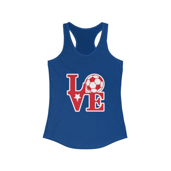 LOVE Soccer Racerback Tank Tank Top Printify Solid Royal L