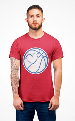 Basketball Heart T-Shirt Phan Tees Solid Red XS