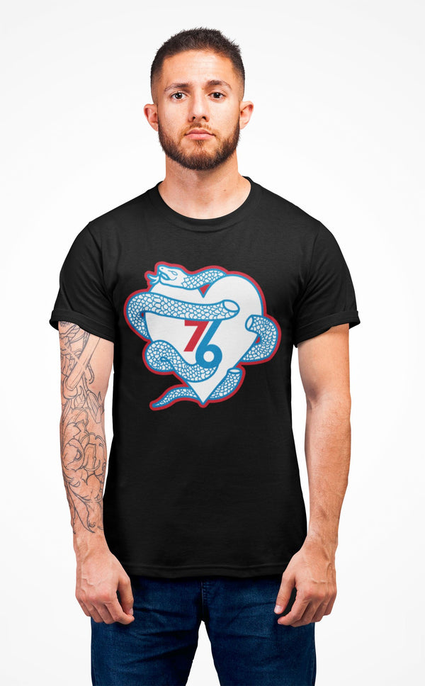 Sixers Snake Heart T-Shirt Phan Tees Solid Black XS